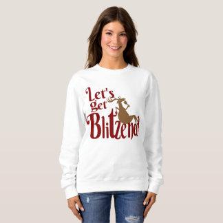 Christmas reindeer partying womens sweatshirt