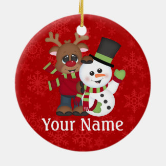 Christmas Reindeer Personalized Ceramic Ornament