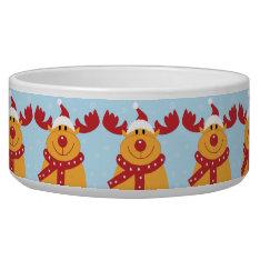 Christmas Reindeer Pet Bowl at Zazzle