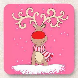 Christmas reindeer pink set of 6 coasters