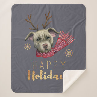 Christmas Reindeer Pit Bull with Faux Gold Fonts Sherpa Blanket