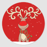 "Christmas reindeer red round sticker<br><div class=""desc"">Customise with your wrapping or cards with this sheet of Christmas reindeer with big antlers fun character animal stickers. Uniquely designed by Sarah Trett.</div>"