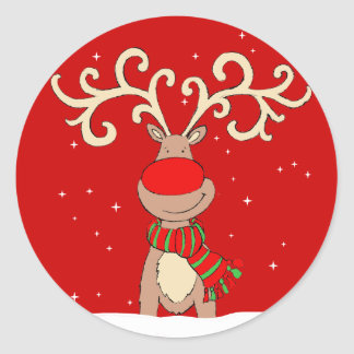 Christmas reindeer red round sticker