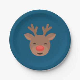 Christmas Reindeer Rudolf on Blue Paper Plate  sc 1 st  Zazzle & Christmas Rudolf Plates | Zazzle