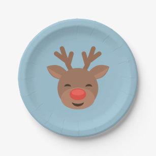 Christmas Reindeer Rudolf on Light Blue Paper Plate  sc 1 st  Zazzle & Christmas Rudolf Plates | Zazzle