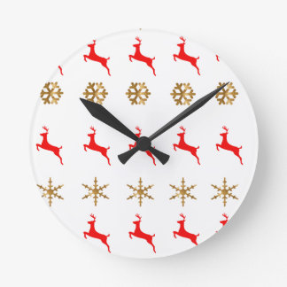 Christmas Reindeer Snowflake gold red Round Clock