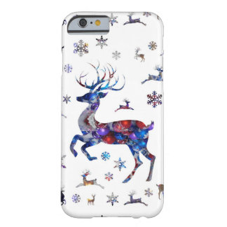 Christmas Reindeer & Snowflakes Barely There iPhone 6 Case