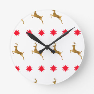 Christmas Reindeer Stars gold red Round Clock