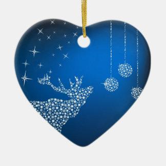 Christmas Reindeer & Stars Double-Sided Heart Ceramic Christmas Ornament