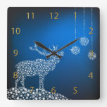 Christmas Reindeer & Stars Square Wall Clock