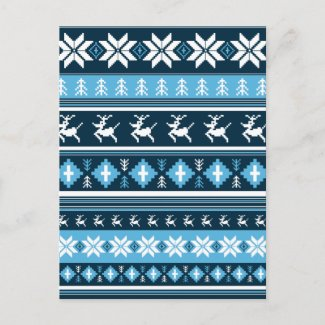 Christmas Reindeer Stripe Postcard postcard