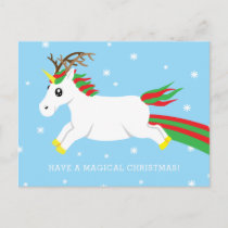 Christmas Reindeer Unicorn Magic Holiday Postcard