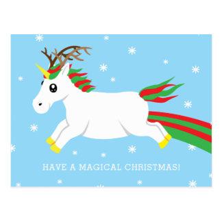 Christmas Reindeer Unicorn Magic Holiday Postcard
