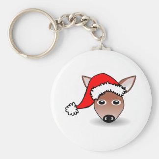 Christmas Reindeer Wearing Santa Hat Keychains