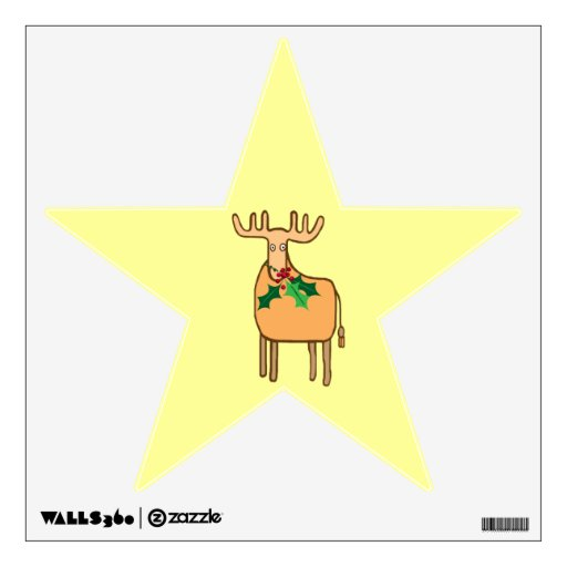 Christmas reindeer with holly wall sticker