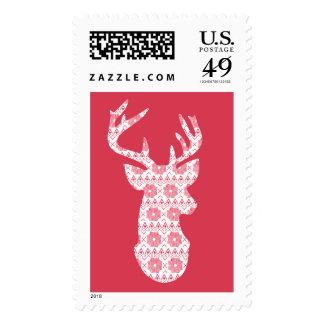 Christmas Reindeer with Snowflake pattern Postage Stamps