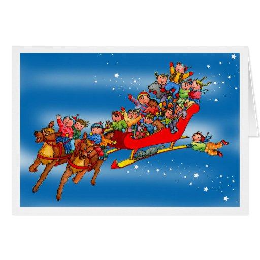Christmas Reindeers Sleigh Kids Greeting Card