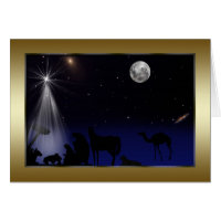 Christmas, Religious, Nativity, Stars, Moon Greeting Card