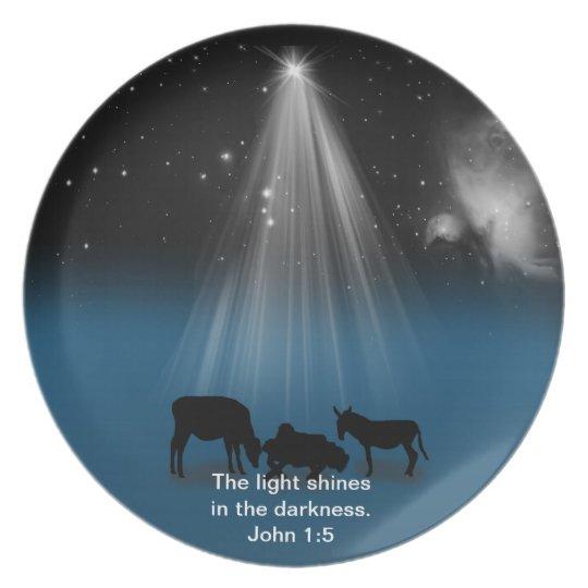Christmas, Religious, Nativity, Stars, Plate