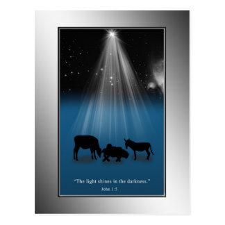 Christmas, Religious, Nativity, Stars, Postcard