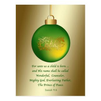 Christmas, Religious, Peace Ornament on Gold Postcard