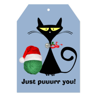 Christmas Retro Alley Cat Matching 5x7 Gift Tag Card