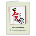Christmas Retro Girl-Exercise Bike Greeting Card