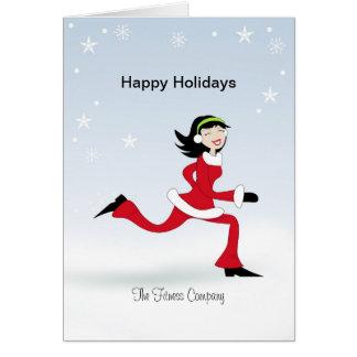 Christmas Retro Girl Runner Fitness Greeting Card