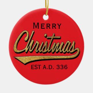 "Christmas""Retro Merry Christmas""/Circle Ornament"