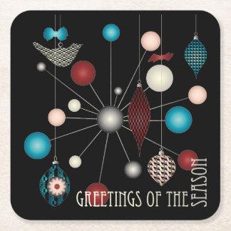 Christmas Retro Ornaments Square Paper Coaster