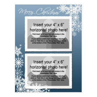 Christmas - Retro Snowflakes Photo Card
