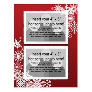 Christmas - Retro Snowflakes Photo Card Post Card