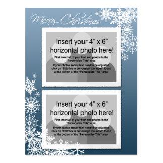 Christmas - Retro Snowflakes Photo Card Postcard