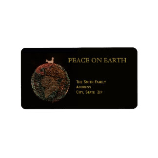 Christmas Return Address Label -- Dove on Earth
