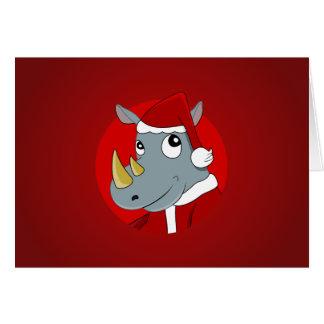 Christmas rhinoceros cartoon card