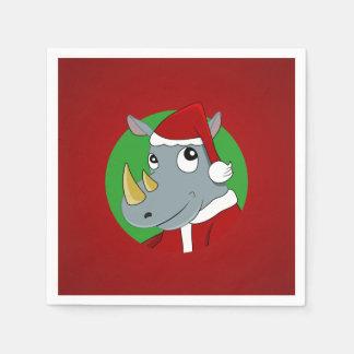 Christmas rhinoceros cartoon standard cocktail napkin