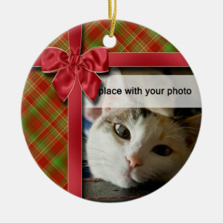 Christmas Ribbon and Plaid Photo Ornament