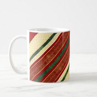 Christmas Ribbon Coffee Mug | Green Red Gold Cream