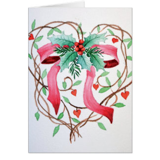 Christmas ribbon in a heart card