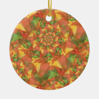Christmas Ribbon Spiral Ceramic Ornament