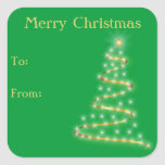 Christmas Ribbon Tree Self-Stick Gift Tags Square Sticker