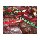 Christmas Ribbons Red Green and Gold Holiday Canvas Print