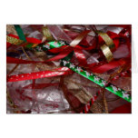 Christmas Ribbons Red Green and Gold Holiday Card