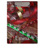 Christmas Ribbons Red Green and Gold Holiday Clipboard