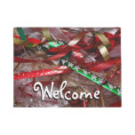 Christmas Ribbons Red Green and Gold Holiday Doormat