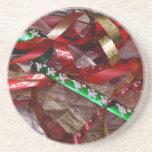 Christmas Ribbons Red Green and Gold Holiday Drink Coaster