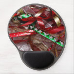 Christmas Ribbons Red Green and Gold Holiday Gel Mouse Pad