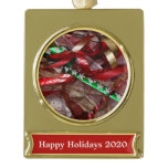 Christmas Ribbons Red Green and Gold Holiday Gold Plated Banner Ornament
