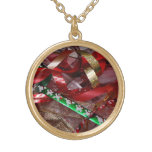 Christmas Ribbons Red Green and Gold Holiday Gold Plated Necklace