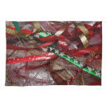 Christmas Ribbons Red Green and Gold Holiday Hand Towel